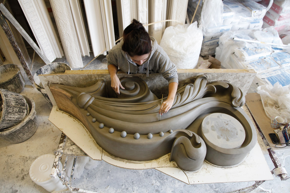 Working on the decorative models for the London Hippodrome restoration